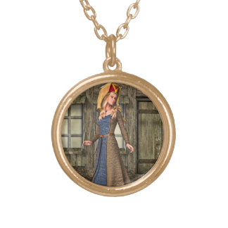 Medieval Lady Round Pendant Necklace
