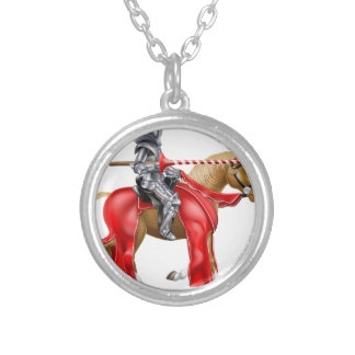 Medieval Lance Knight on Horse Round Pendant Necklace