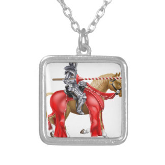 Medieval Lance Knight on Horse Square Pendant Necklace