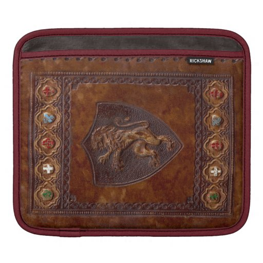 Medieval Leather Book Cover Lion Rampant iPad Sleeves