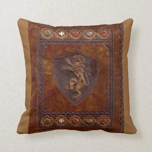 Medieval Leather Book Cover Lion Rampant Pillows