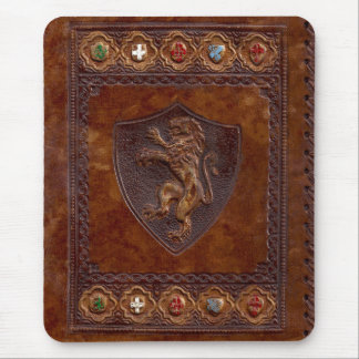 Medieval Leather Book Cover Mouse Pad
