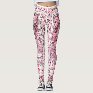 MEDIEVAL LEGENDS Lady And Knight,Pink White Floral Leggings