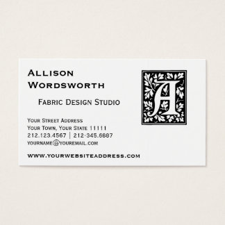 Medieval Letter A Monogram Black and White Business Card