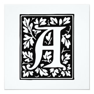Medieval Letter A Monogram Black and White Card