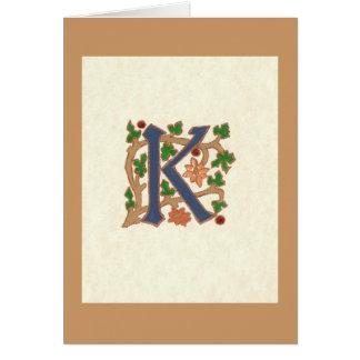 MEDIEVAL LETTER K GREETING CARD