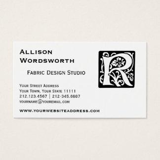 Medieval Letter R Monogram Black and White Business Card