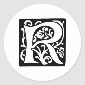 Medieval Letter R Monogram Black and White Classic Round Sticker