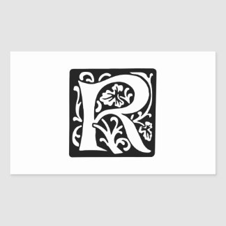 Medieval Letter R Monogram Black and White Rectangular Sticker