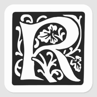 Medieval Letter R Monogram Black and White Square Sticker