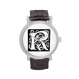 Medieval Letter R Monogram Black and White Wrist Watches