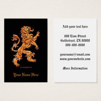 Medieval Lion on Black Business Card