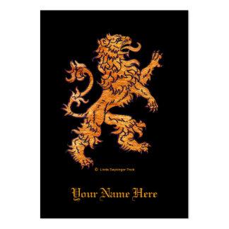 Medieval Lion on Black Large Business Card