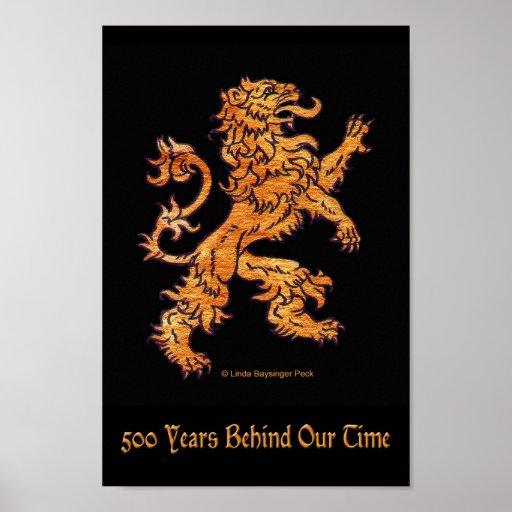 Medieval Lion on Black Poster