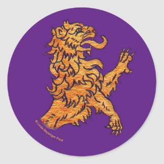 Medieval Lion on Purple Classic Round Sticker