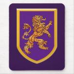 Medieval Lion on Purple Shield Mouse Pad