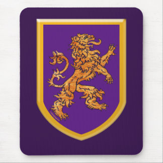 Medieval Lion on Purple Shield Mouse Pad