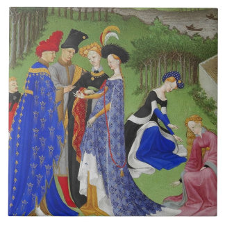 Medieval lords and ladies large square tile