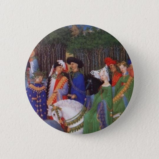 Medieval lords and ladies pinback button