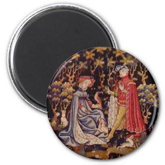 Medieval love 2 inch round magnet