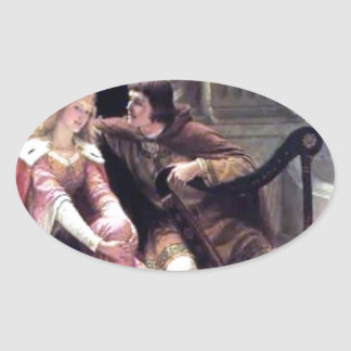Medieval Love Couple Romantic Castle Painting Oval Sticker