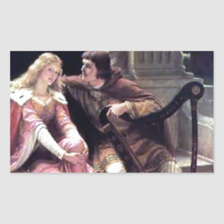 Medieval Love Couple Romantic Castle Painting Rectangular Sticker