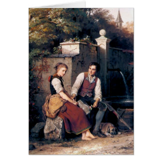 Medieval Love Woman Man painting romantic Card