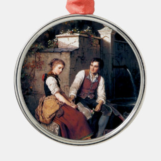 Medieval Love Woman Man painting romantic Metal Ornament