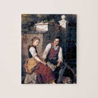 Medieval Love Woman Man painting romantic Puzzles
