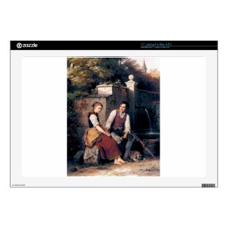 Medieval Love Woman Man painting romantic Laptop Decal
