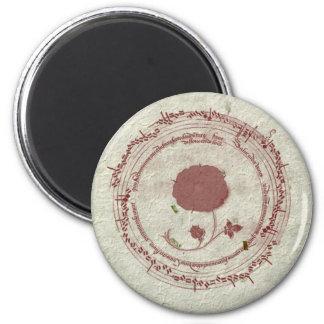 Medieval Manuscript Bordeaux Flower Magnet
