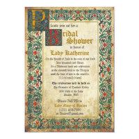 Medieval Manuscript Bridal Shower Invitation Card
