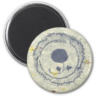 Medieval Manuscript Dark Blue Flower Magnet