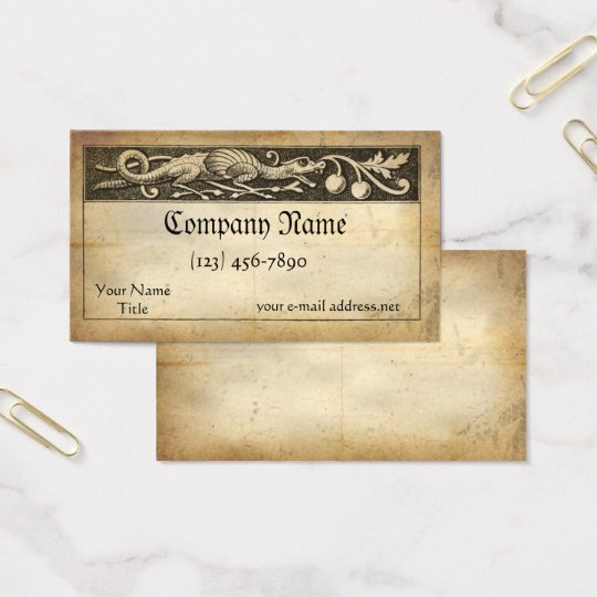 Medieval Manuscript Dragon Business Card