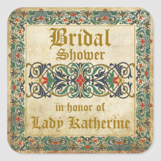 Medieval Manuscript Goth Bridal Shower Label Square Sticker