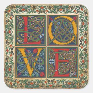 Medieval Manuscript Goth LOVE Wedding Label Square Sticker