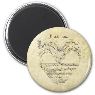 Medieval Manuscript Heart 2 Inch Round Magnet