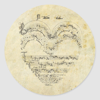 Medieval Manuscript Heart Classic Round Sticker