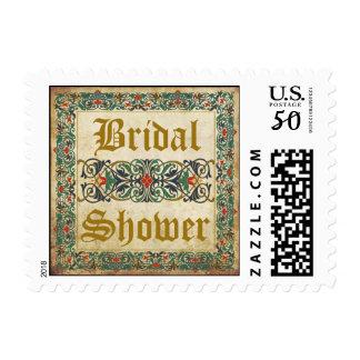 Medieval Manuscript Renaissance Bridal Shower Postage