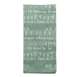 Medieval Manuscript Teal Green Cloth Napkin