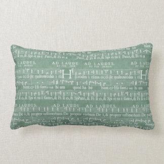 Medieval Manuscript Teal Green Pillow