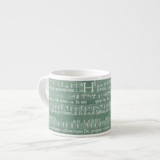 Medieval Manuscript Teal Green 6 Oz Ceramic Espresso Cup