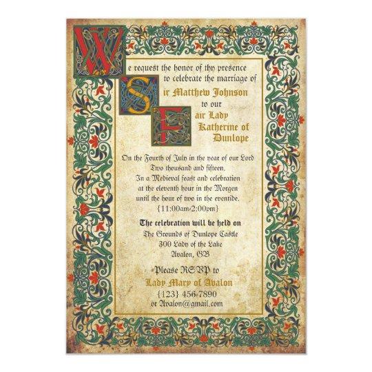 28 Best Medieval Wedding Invitations Images On Pinterest: Medieval Manuscript Wedding Invitation Card