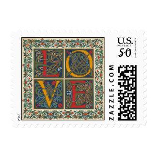 Medieval Manuscript Wedding LOVE Stamp