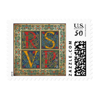Medieval Manuscript Wedding RSVP Stamp