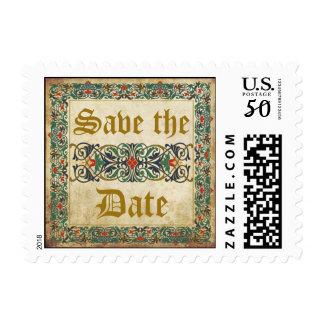 Medieval Manuscript Wedding Save the Date Stamp