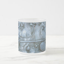 Medieval metal plate frosted glass coffee mug