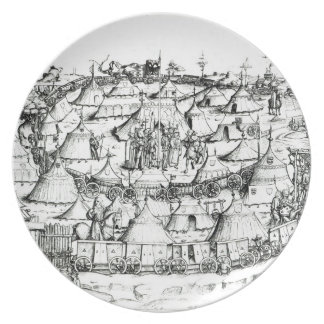 Medieval military encampment, from a book, pub. 18 plates