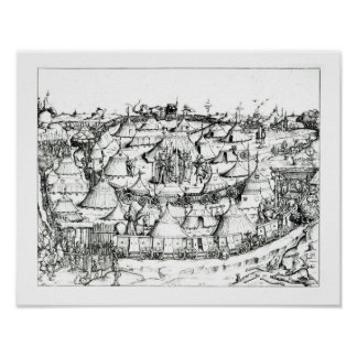 Medieval military encampment, from a book, pub. 18 poster