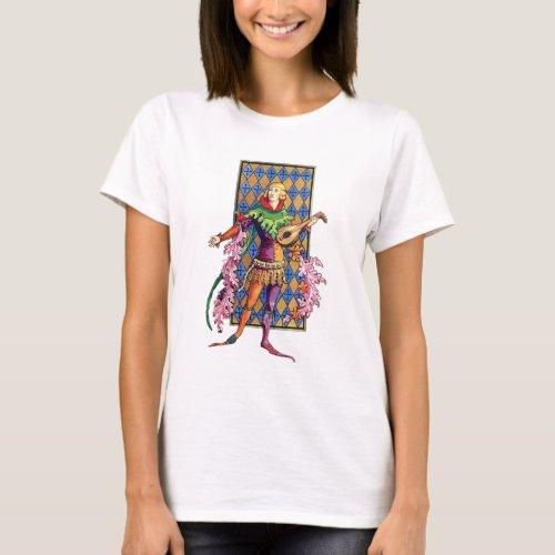 Vintage Illustration Medieval Minstrel and Lute Basic T-Shirt